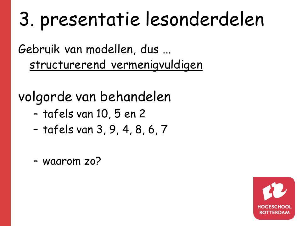 3.presentatie lesonderdelen Gebruik van modellen, dus...