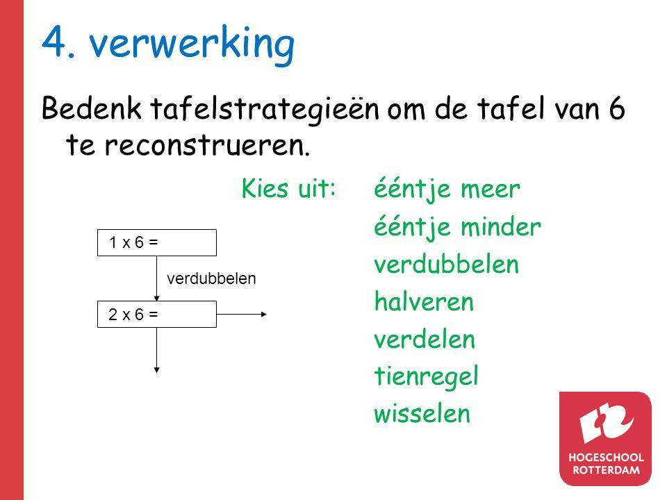 4.verwerking Bedenk tafelstrategieën om de tafel van 6 te reconstrueren.
