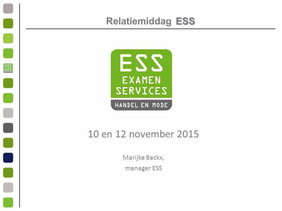 ESS Relatiemiddag ESS 10 en 12 november 2015 Marijke Backx, manager ESS