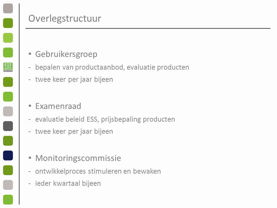 Overlegstructuur Gebruikersgroep -bepalen van productaanbod, evaluatie producten -twee keer per jaar bijeen Examenraad -evaluatie beleid ESS, prijsbepaling producten -twee keer per jaar bijeen Monitoringscommissie -ontwikkelproces stimuleren en bewaken -ieder kwartaal bijeen