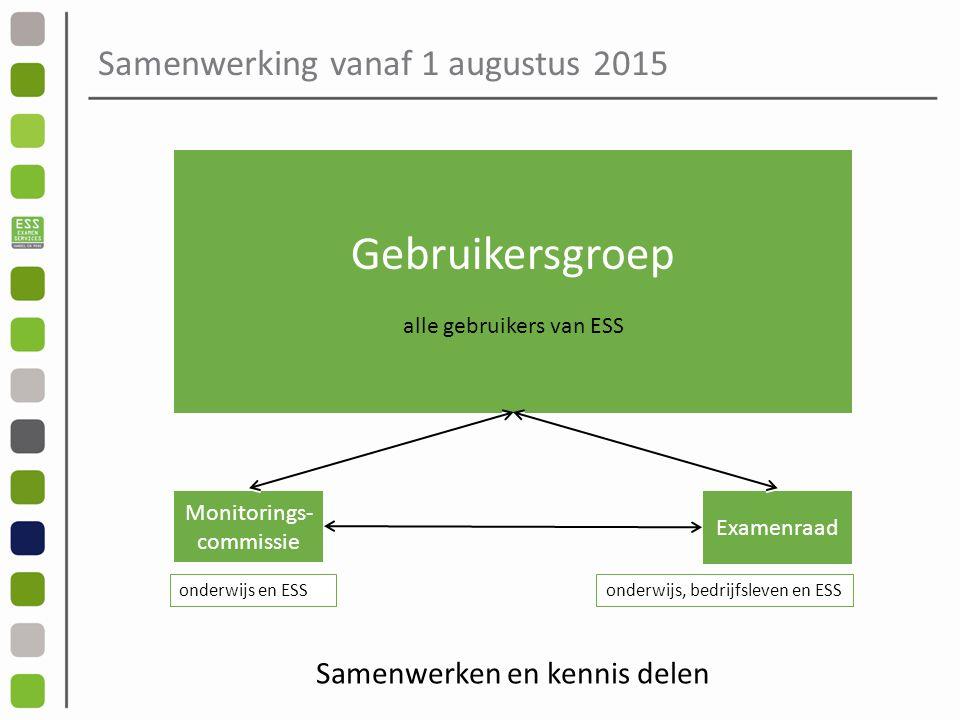 Samenwerking vanaf 1 augustus 2015 Gebruikersgroep alle gebruikers van ESS Monitorings- commissie Examenraad onderwijs en ESSonderwijs, bedrijfsleven en ESS Samenwerken en kennis delen