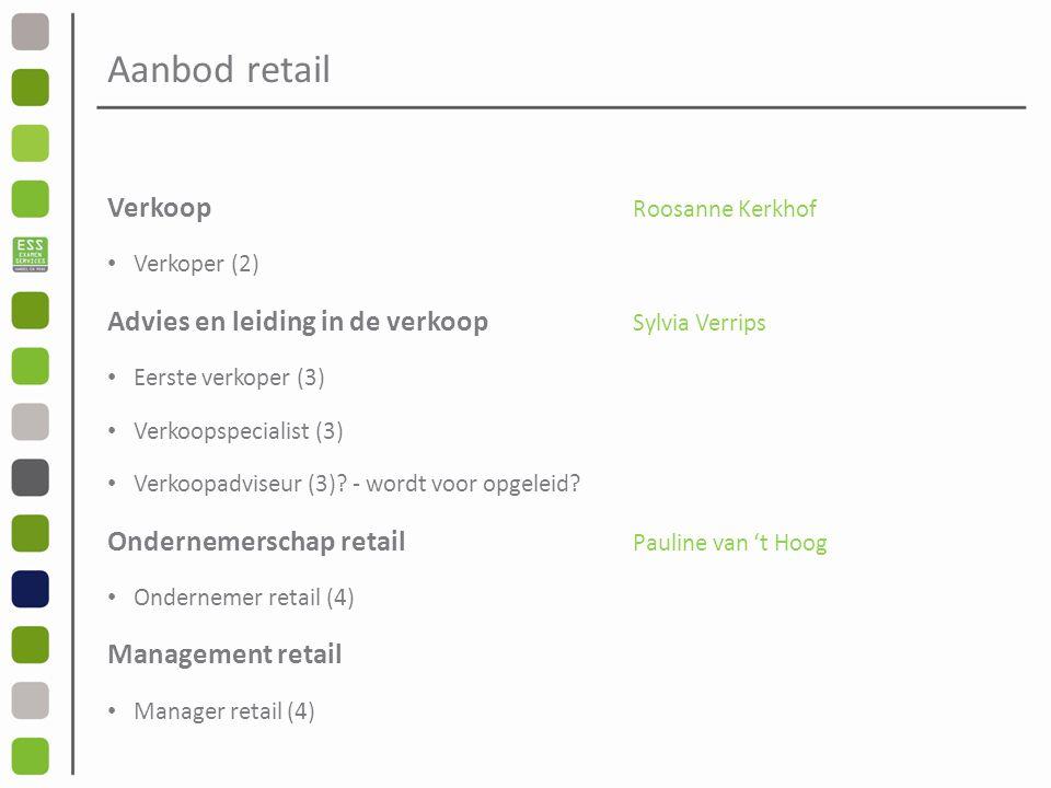 Aanbod retail Verkoop Roosanne Kerkhof Verkoper (2) Advies en leiding in de verkoop Sylvia Verrips Eerste verkoper (3) Verkoopspecialist (3) Verkoopadviseur (3).