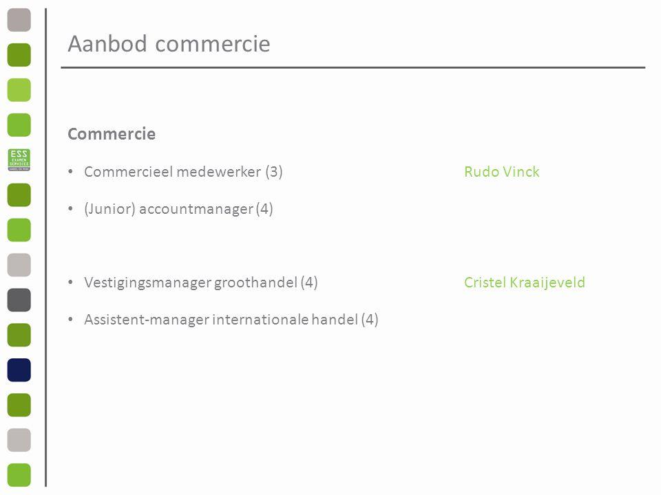 Aanbod commercie Commercie Commercieel medewerker (3)Rudo Vinck (Junior) accountmanager (4) Vestigingsmanager groothandel (4)Cristel Kraaijeveld Assistent-manager internationale handel (4)
