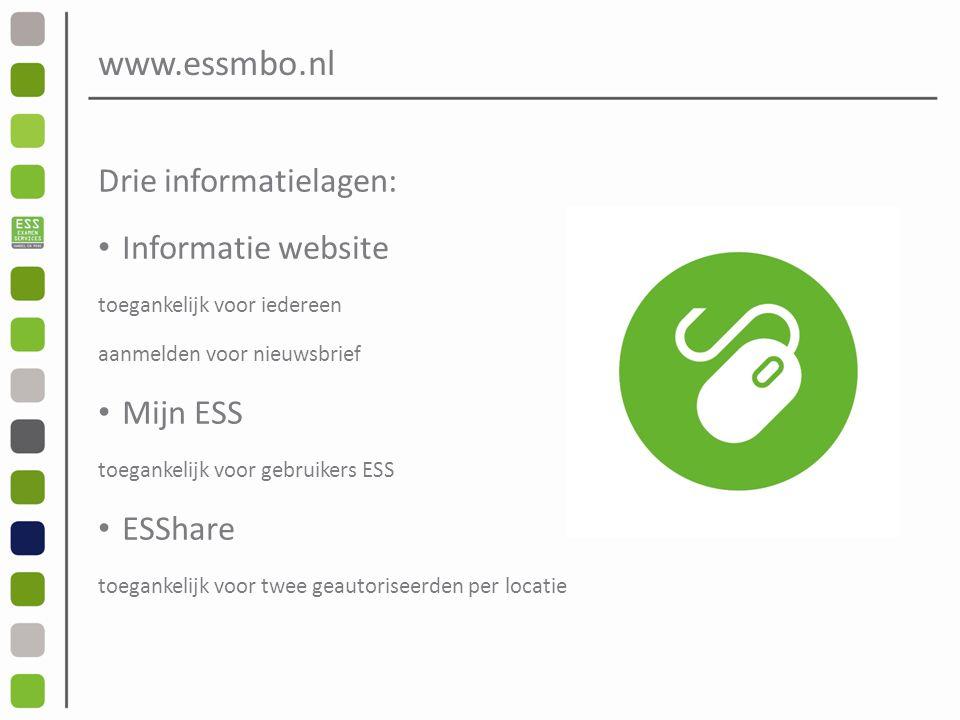 www.essmbo.nl Drie informatielagen: Informatie website toegankelijk voor iedereen aanmelden voor nieuwsbrief Mijn ESS toegankelijk voor gebruikers ESS ESShare toegankelijk voor twee geautoriseerden per locatie
