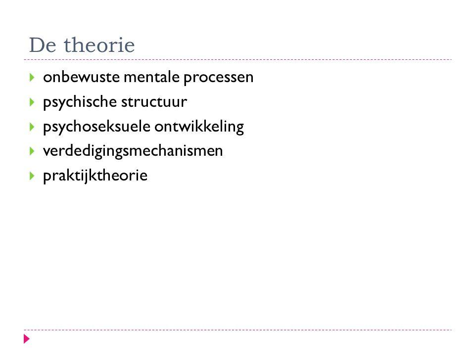De theorie  onbewuste mentale processen  psychische structuur  psychoseksuele ontwikkeling  verdedigingsmechanismen  praktijktheorie
