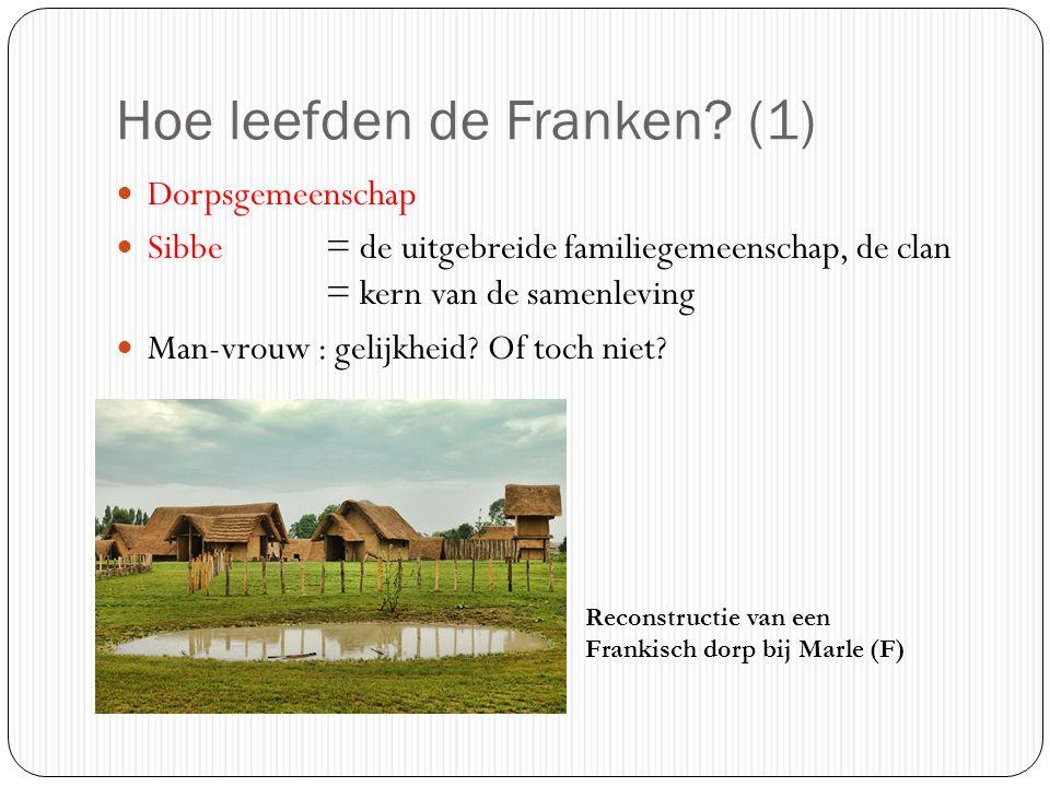 Hoe leefden de Franken? (1) Dorpsgemeenschap Sibbe = de uitgebreide familiegemeenschap, de clan = kern van de samenleving Man-vrouw : gelijkheid? Of t