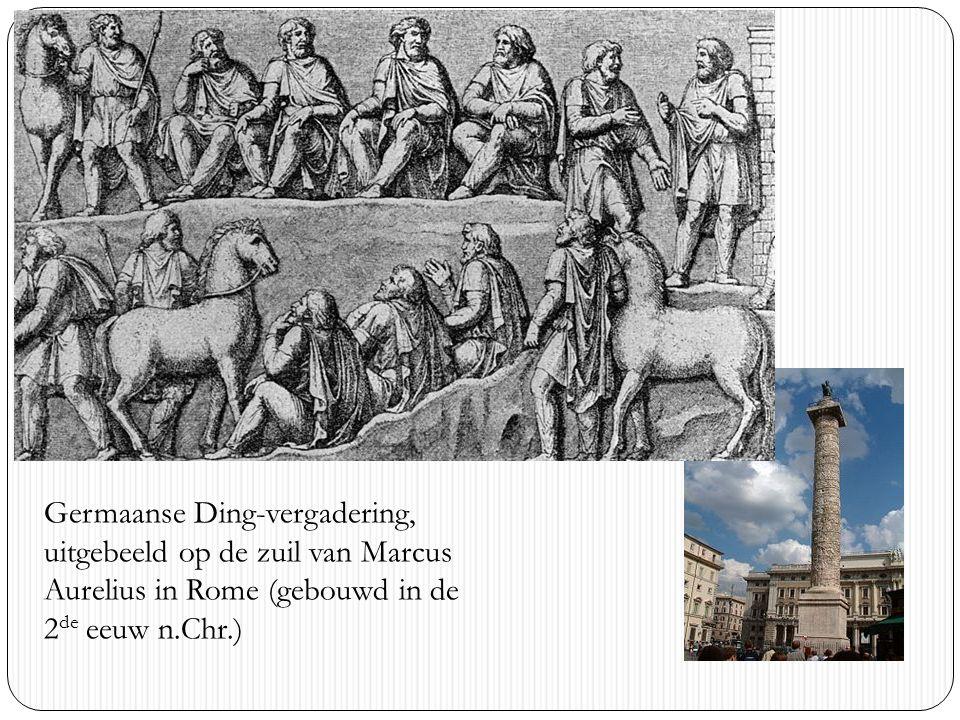 Germaanse Ding-vergadering, uitgebeeld op de zuil van Marcus Aurelius in Rome (gebouwd in de 2 de eeuw n.Chr.)