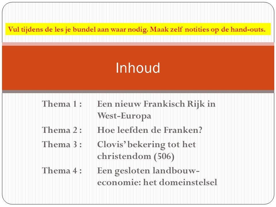 Thema 1 : Een nieuw Frankisch Rijk in West-Europa Thema 2 : Hoe leefden de Franken? Thema 3 : Clovis' bekering tot het christendom (506) Thema 4 : Een