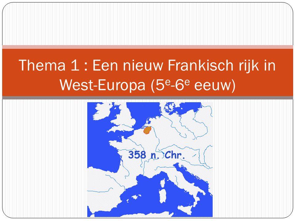 West-Europa na de volksverhuizingen (begin 5 e eeuw) In het vroegere 'Belgica secunda': Salische Franken In het huidige Frankrijk: het Gallo- Romeinse Rijk (Rijk van Syagrius).