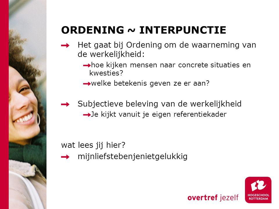 ORDENING ~ INTERPUNCTIE Het gaat bij Ordening om de waarneming van de werkelijkheid: hoe kijken mensen naar concrete situaties en kwesties.