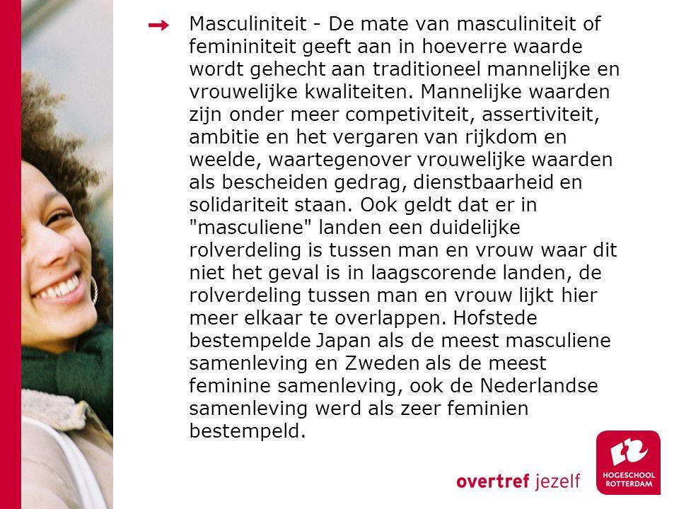 Masculiniteit - De mate van masculiniteit of femininiteit geeft aan in hoeverre waarde wordt gehecht aan traditioneel mannelijke en vrouwelijke kwaliteiten.