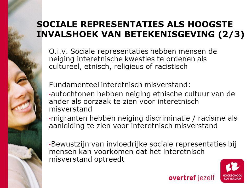 SOCIALE REPRESENTATIES ALS HOOGSTE INVALSHOEK VAN BETEKENISGEVING (2/3) O.i.v.