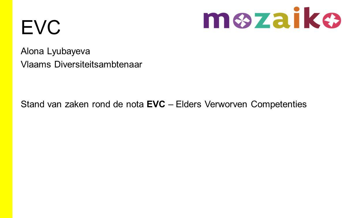 EVC Alona Lyubayeva Vlaams Diversiteitsambtenaar Stand van zaken rond de nota EVC – Elders Verworven Competenties