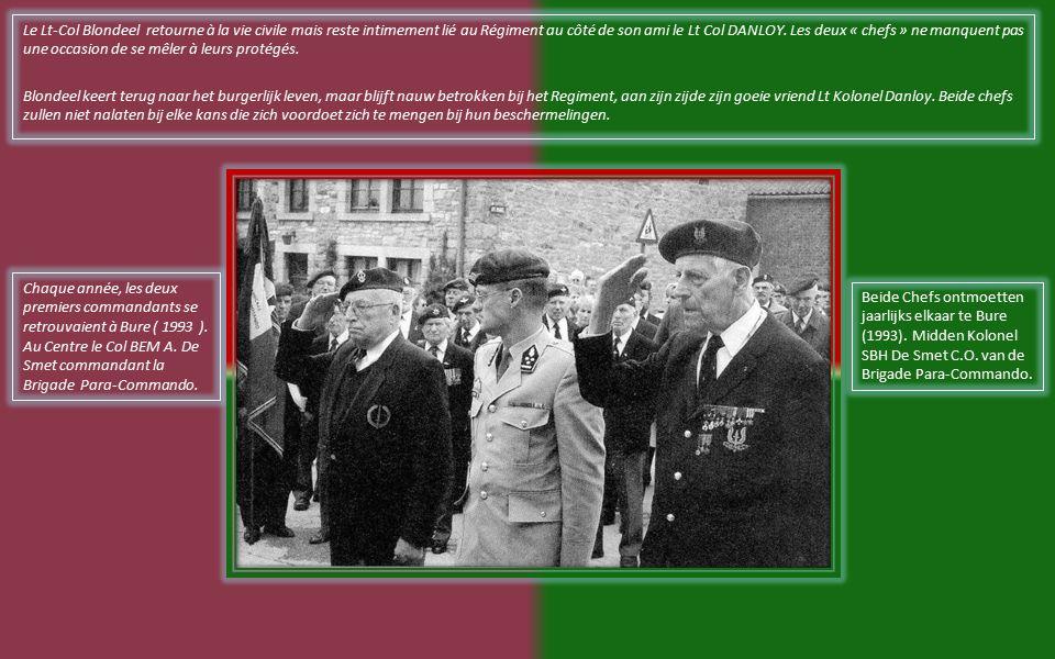 Sur la photo à droite, pendant l inauguration du centre le 26/9/1947, on distingue de gauche a droite : Vanderheyden (créateur du Centre d Entrainement de Parachutistes,..., Blondeel (créateur des Parachutistes Belges), Delelienne (premier Chef de Corps du Centre d Entrainement de Parachutistes), Kirchen.