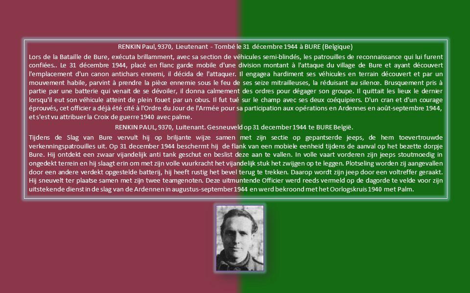 MELSENS Jean, 0630, Sgt - Tombé le 10 septembre 1944 à MEEUWEN (Belgique) Sous-officier d un courage éprouvé.