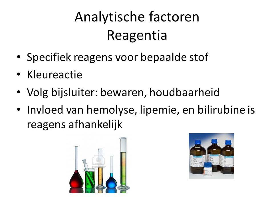 Analytische factoren Reagentia Specifiek reagens voor bepaalde stof Kleureactie Volg bijsluiter: bewaren, houdbaarheid Invloed van hemolyse, lipemie,