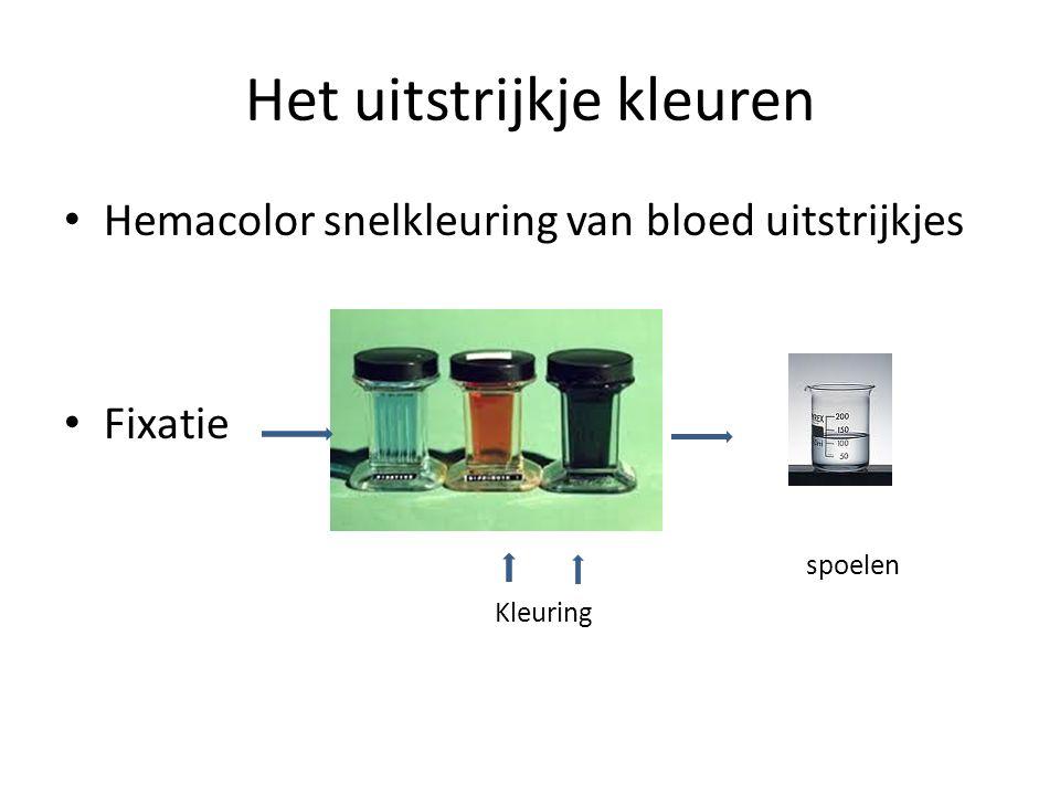 Het uitstrijkje kleuren Hemacolor snelkleuring van bloed uitstrijkjes Fixatie spoelen Kleuring