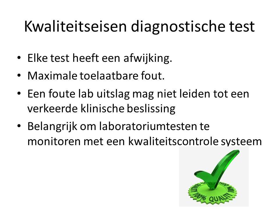 Kwaliteitseisen diagnostische test Elke test heeft een afwijking. Maximale toelaatbare fout. Een foute lab uitslag mag niet leiden tot een verkeerde k