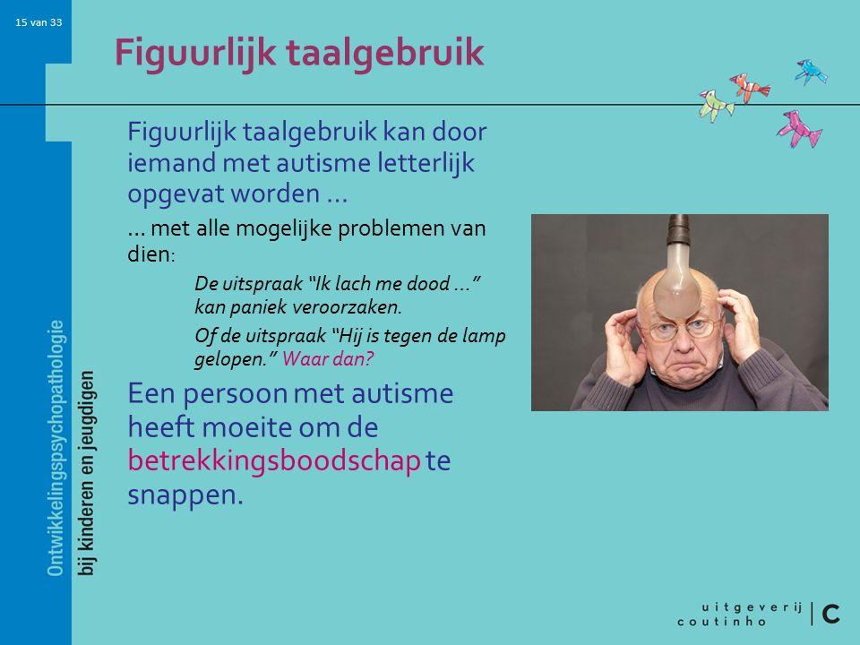 15 van 33 Figuurlijk taalgebruik Figuurlijk taalgebruik kan door iemand met autisme letterlijk opgevat worden … … met alle mogelijke problemen van dien: De uitspraak Ik lach me dood … kan paniek veroorzaken.
