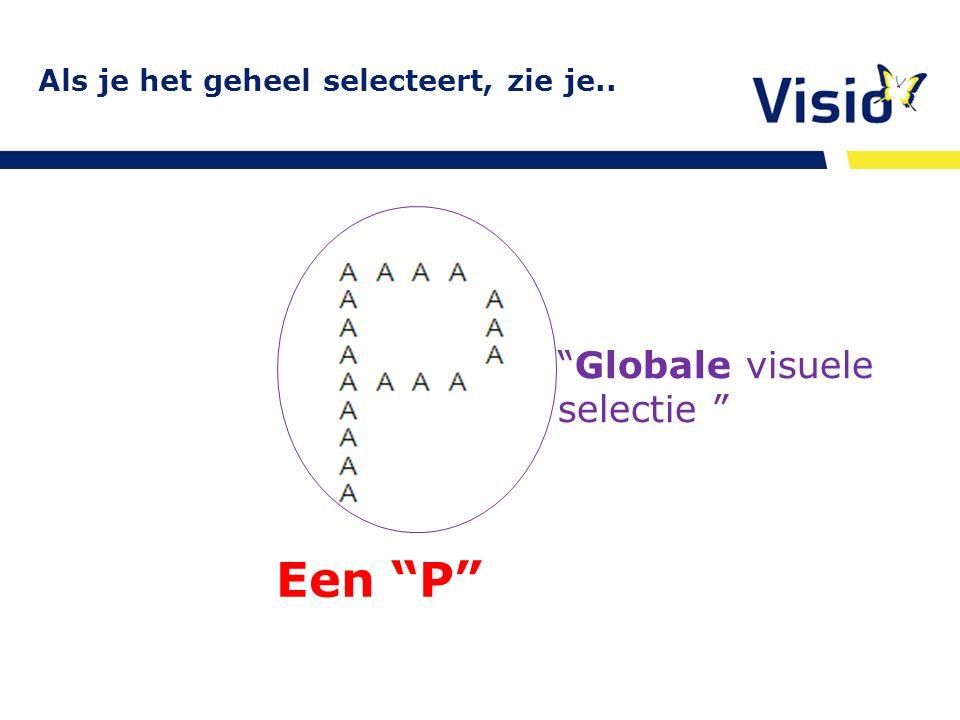 """Als je het geheel selecteert, zie je.. http:/www.oogheelkunde.org/richtlijnen/ visusstoornissen E-learning Een """"P"""" """"Globale visuele selectie """""""