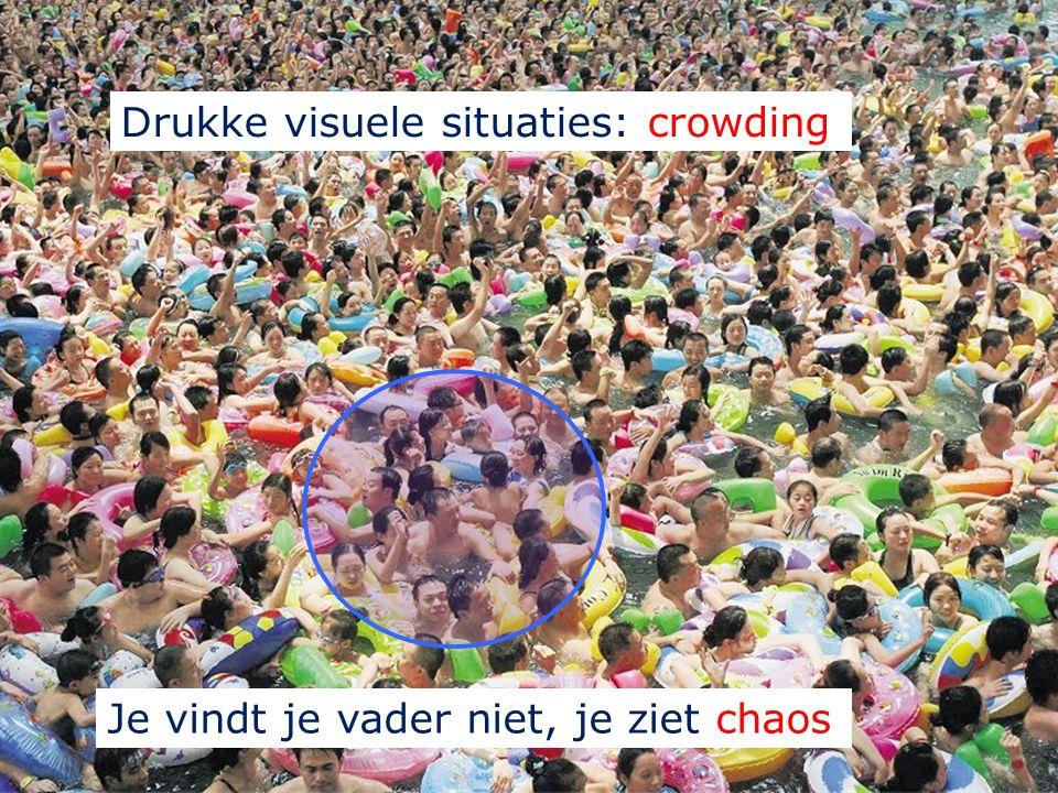 .. of A'tjes 1. Visuele selectieve aandacht Bepaalt wat je ziet: Je vindt je vader niet, je ziet chaos Drukke visuele situaties: crowding