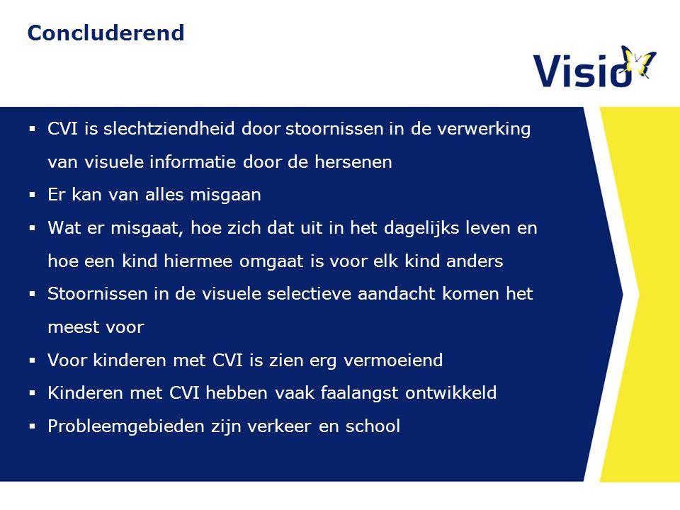 Concluderend  CVI is slechtziendheid door stoornissen in de verwerking van visuele informatie door de hersenen  Er kan van alles misgaan  Wat er mi