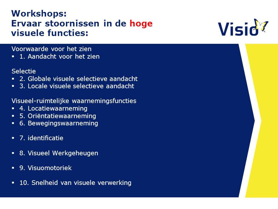 Workshops: Ervaar stoornissen in de hoge visuele functies: Voorwaarde voor het zien  1. Aandacht voor het zien Selectie  2. Globale visuele selectie