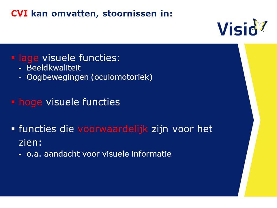 CVI kan omvatten, stoornissen in:  lage visuele functies: - Beeldkwaliteit - Oogbewegingen (oculomotoriek)  hoge visuele functies  functies die voo