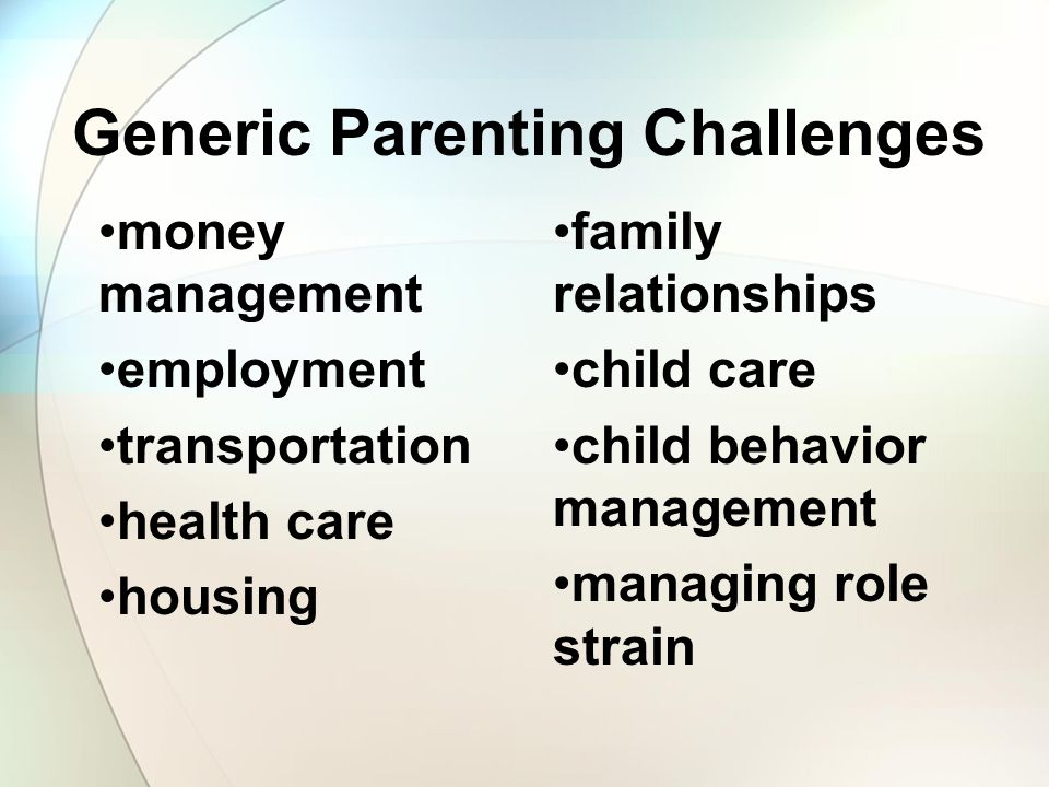 Generic Parenting Challenges money management employment transportation health care housing family relationships child care child behavior management managing role strain