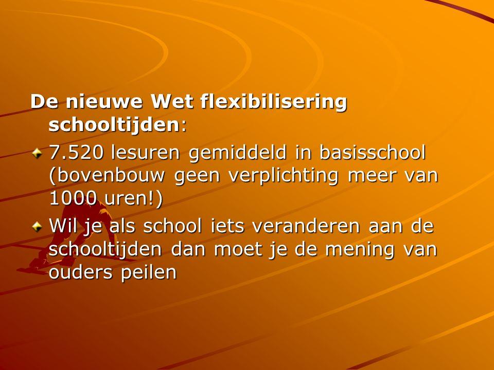 De nieuwe Wet flexibilisering schooltijden: 7.520 lesuren gemiddeld in basisschool (bovenbouw geen verplichting meer van 1000 uren!) Wil je als school iets veranderen aan de schooltijden dan moet je de mening van ouders peilen