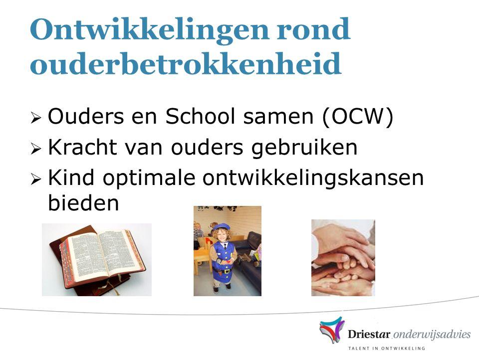Ontwikkelingen rond ouderbetrokkenheid  Ouders en School samen (OCW)  Kracht van ouders gebruiken  Kind optimale ontwikkelingskansen bieden
