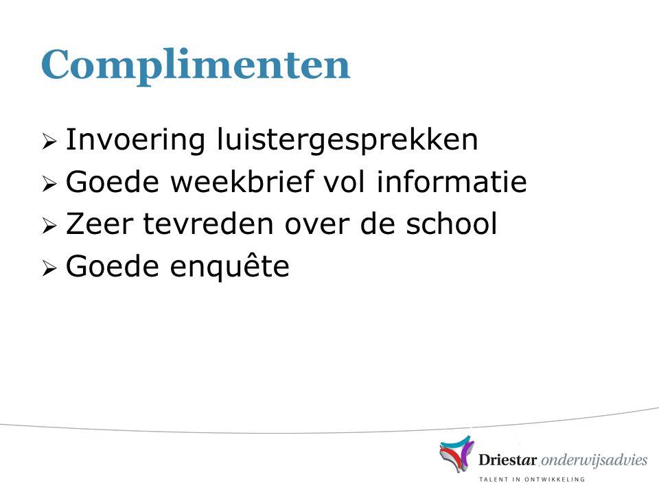 Complimenten  Invoering luistergesprekken  Goede weekbrief vol informatie  Zeer tevreden over de school  Goede enquête