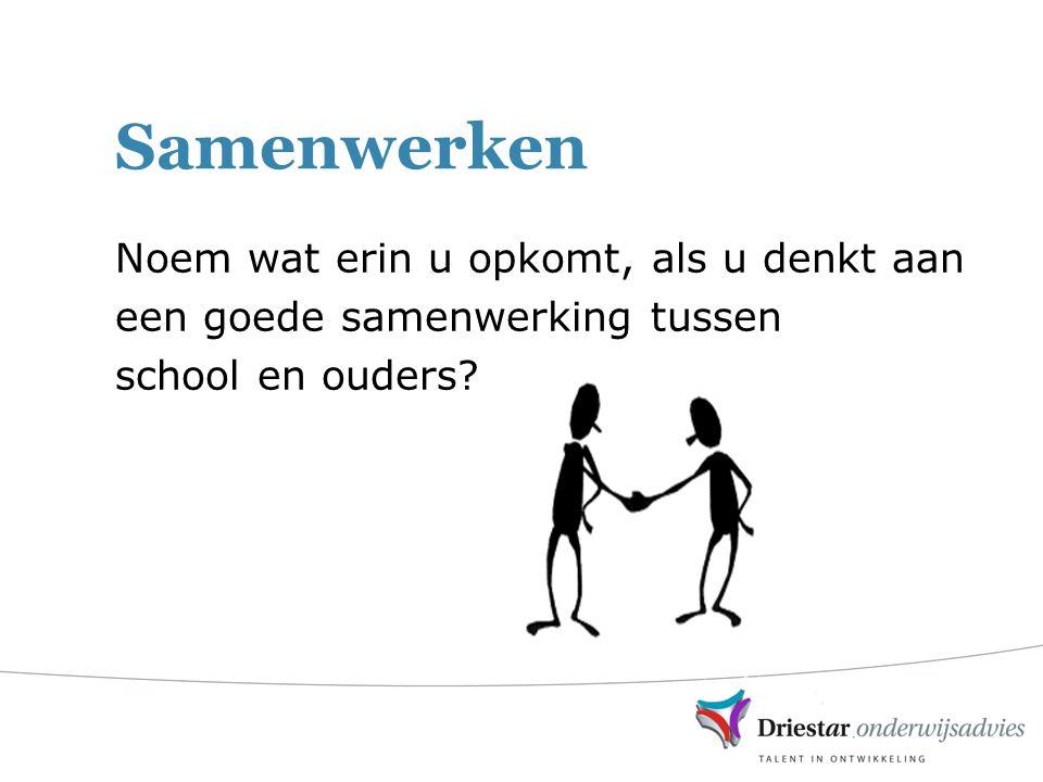 Samenwerken Noem wat erin u opkomt, als u denkt aan een goede samenwerking tussen school en ouders?