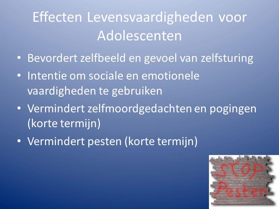 Effecten Levensvaardigheden voor Adolescenten Bevordert zelfbeeld en gevoel van zelfsturing Intentie om sociale en emotionele vaardigheden te gebruiken Vermindert zelfmoordgedachten en pogingen (korte termijn) Vermindert pesten (korte termijn)
