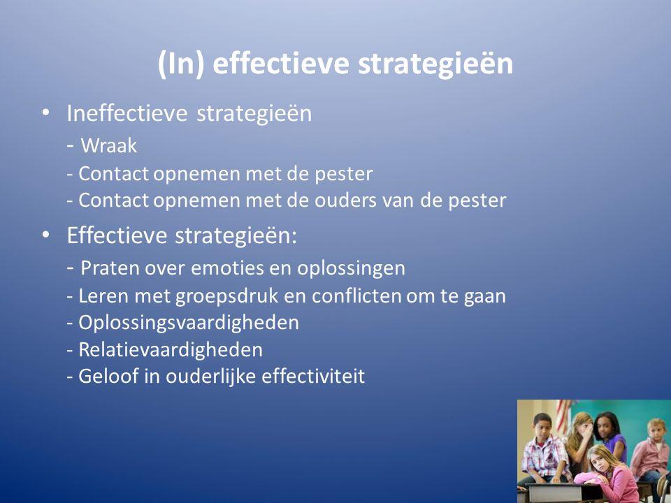 (In) effectieve strategieën Ineffectieve strategieën - Wraak - Contact opnemen met de pester - Contact opnemen met de ouders van de pester Effectieve strategieën: - Praten over emoties en oplossingen - Leren met groepsdruk en conflicten om te gaan - Oplossingsvaardigheden - Relatievaardigheden - Geloof in ouderlijke effectiviteit