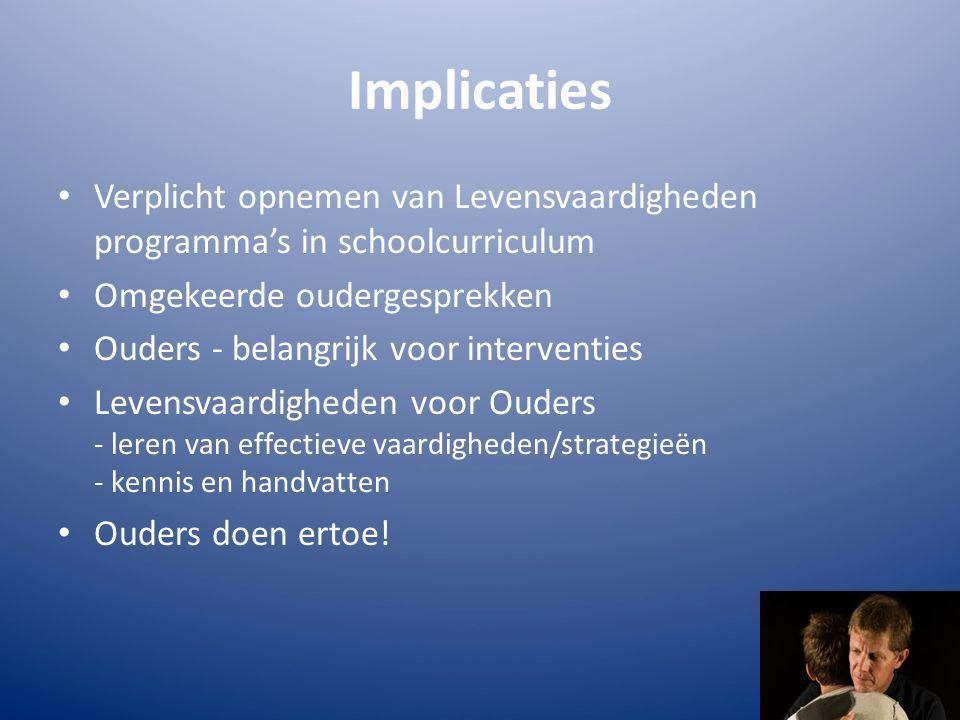 Implicaties Verplicht opnemen van Levensvaardigheden programma's in schoolcurriculum Omgekeerde oudergesprekken Ouders - belangrijk voor interventies