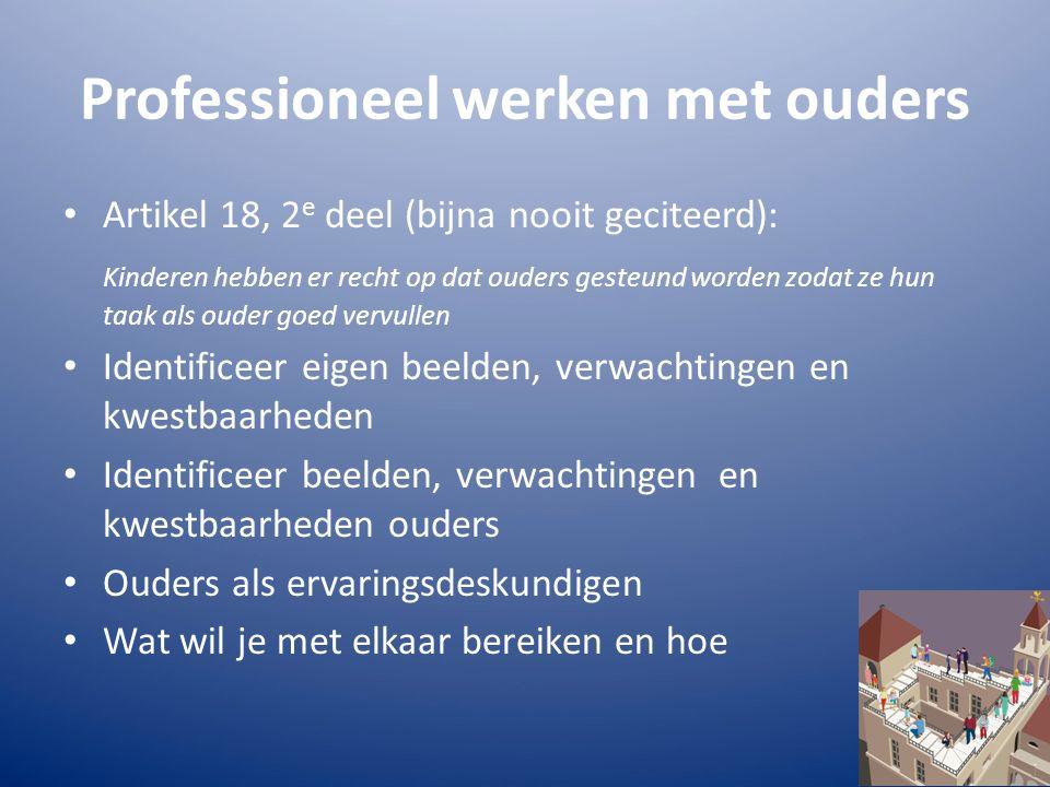 Professioneel werken met ouders Artikel 18, 2 e deel (bijna nooit geciteerd): Kinderen hebben er recht op dat ouders gesteund worden zodat ze hun taak