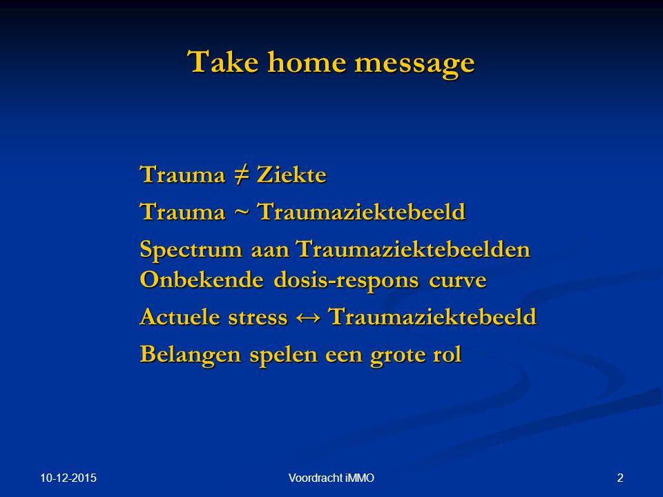10-12-2015 2Voordracht iMMO Take home message Trauma ≠ Ziekte Trauma ~ Traumaziektebeeld Spectrum aan Traumaziektebeelden Onbekende dosis-respons curve Actuele stress ↔ Traumaziektebeeld Belangen spelen een grote rol