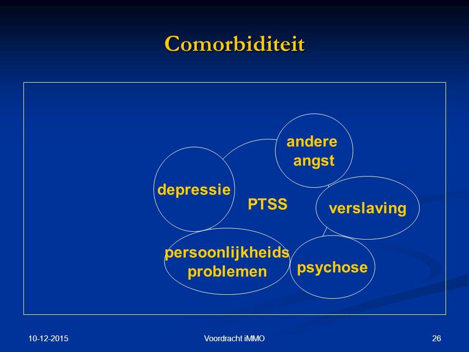 10-12-2015 26Voordracht iMMO Comorbiditeit PTSS depressie andere angst psychose persoonlijkheids problemen verslaving