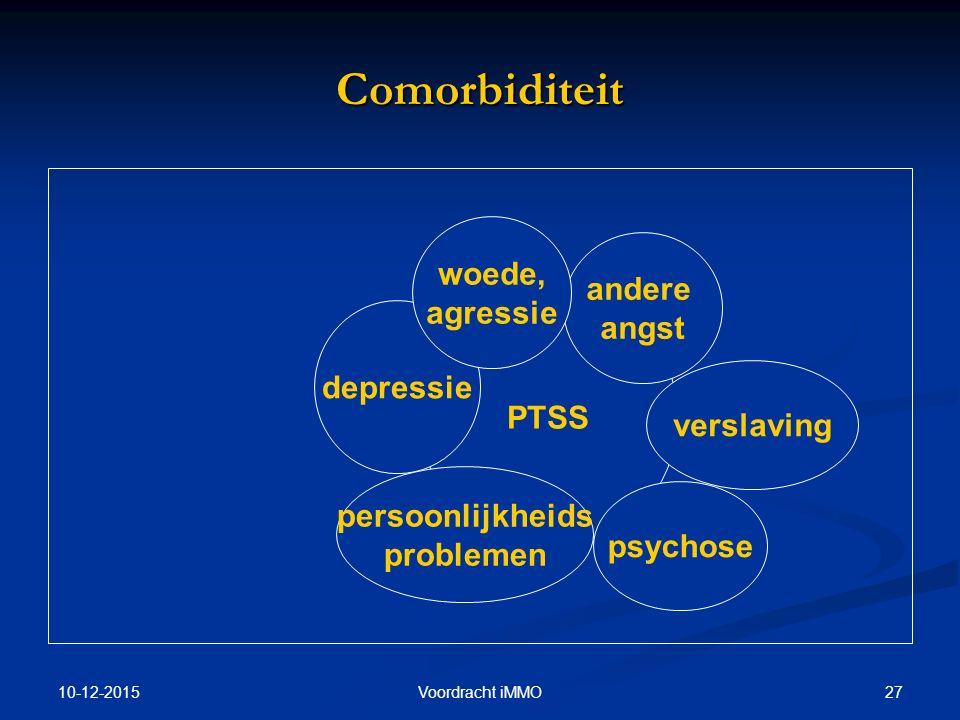 10-12-2015 27Voordracht iMMO Comorbiditeit PTSS depressie andere angst psychose persoonlijkheids problemen verslaving woede, agressie