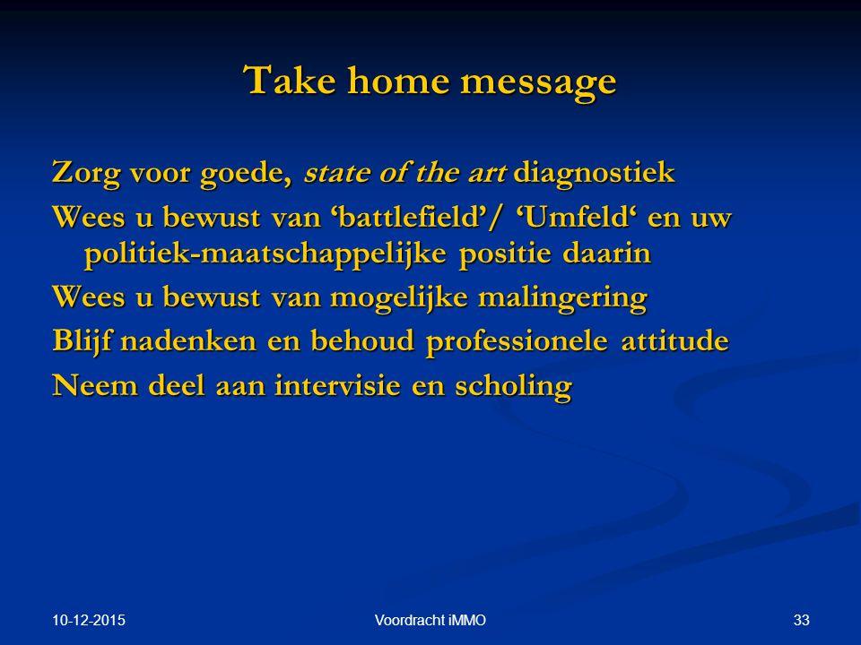 10-12-2015 33Voordracht iMMO Take home message Zorg voor goede, state of the art diagnostiek Wees u bewust van 'battlefield'/ 'Umfeld' en uw politiek-