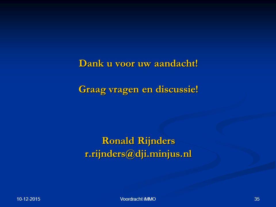 10-12-2015 35Voordracht iMMO Dank u voor uw aandacht! Graag vragen en discussie! Ronald Rijnders r.rijnders@dji.minjus.nl
