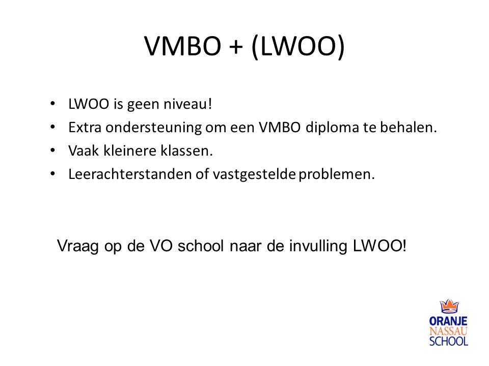 VMBO + (LWOO) LWOO is geen niveau.Extra ondersteuning om een VMBO diploma te behalen.
