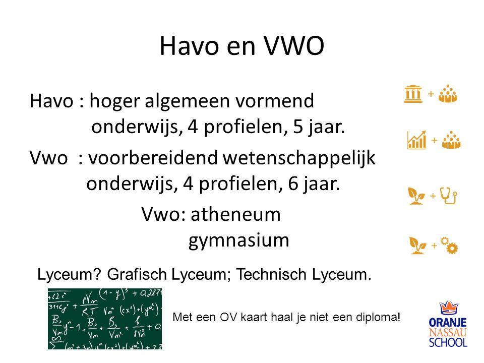 Havo en VWO Havo : hoger algemeen vormend onderwijs, 4 profielen, 5 jaar. Vwo : voorbereidend wetenschappelijk onderwijs, 4 profielen, 6 jaar. Vwo: at