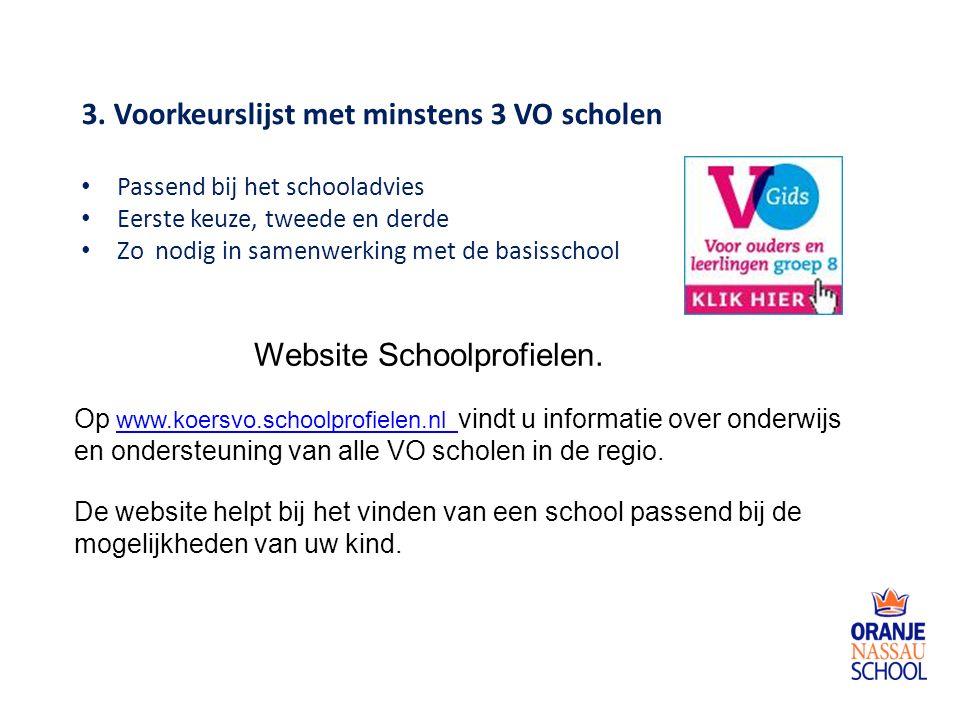 3. Voorkeurslijst met minstens 3 VO scholen Passend bij het schooladvies Eerste keuze, tweede en derde Zo nodig in samenwerking met de basisschool Web
