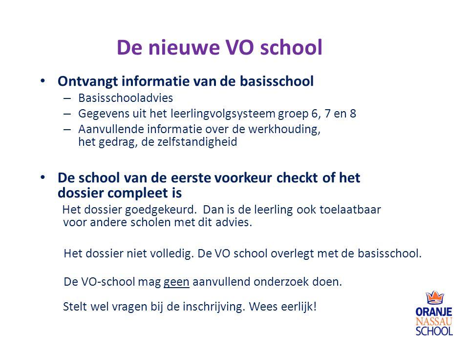 De nieuwe VO school Ontvangt informatie van de basisschool – Basisschooladvies – Gegevens uit het leerlingvolgsysteem groep 6, 7 en 8 – Aanvullende in