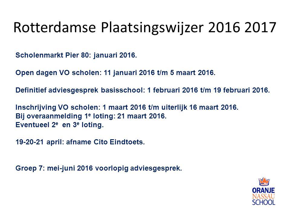 Rotterdamse Plaatsingswijzer 2016 2017 Scholenmarkt Pier 80: januari 2016. Open dagen VO scholen: 11 januari 2016 t/m 5 maart 2016. Definitief adviesg