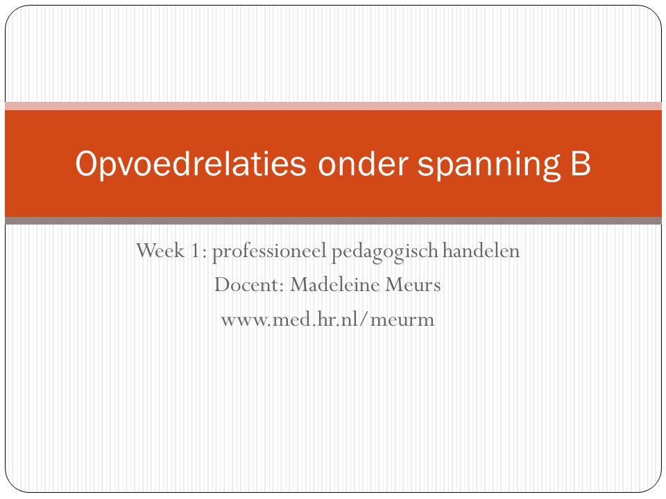 Week 1: professioneel pedagogisch handelen Docent: Madeleine Meurs www.med.hr.nl/meurm Opvoedrelaties onder spanning B