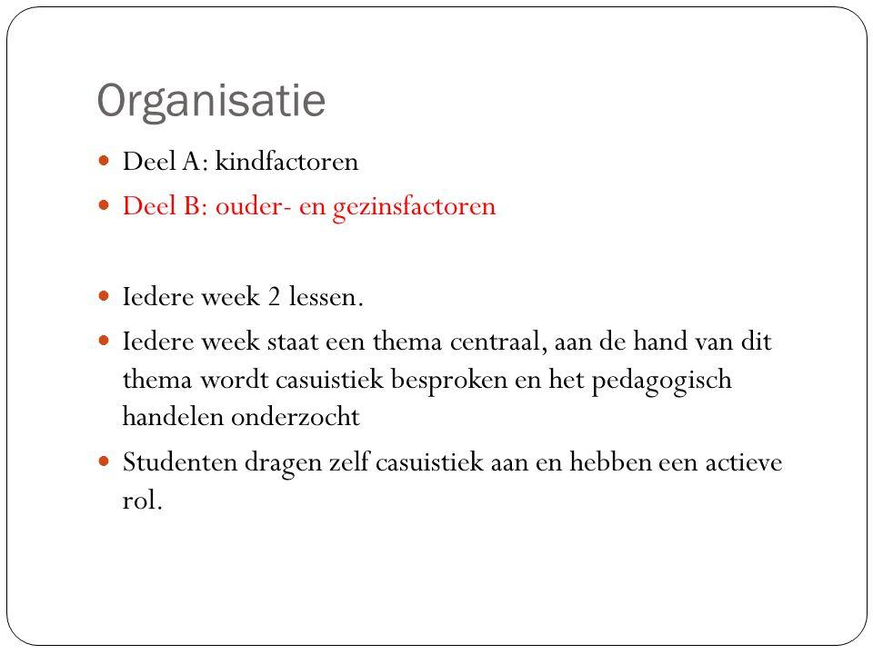 Organisatie Deel A: kindfactoren Deel B: ouder- en gezinsfactoren Iedere week 2 lessen.