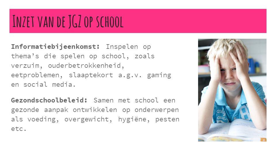 Inzet van de JGZ op school Informatiebijeenkomst: Inspelen op thema's die spelen op school, zoals verzuim, ouderbetrokkenheid, eetproblemen, slaaptekort a.g.v.